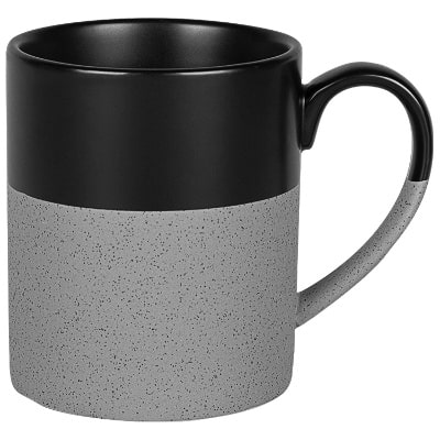 Ceramic gray coffee mug with c-handle blank in 15 ounces.