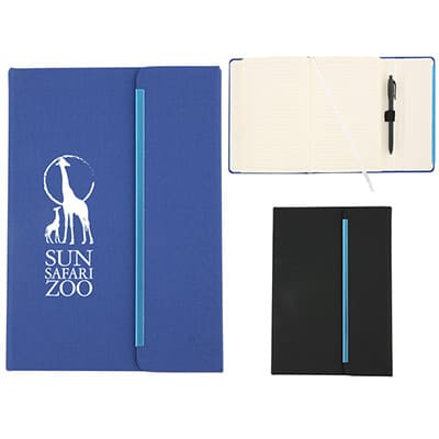 PVC blue magnetic close journal with imprinted logo.