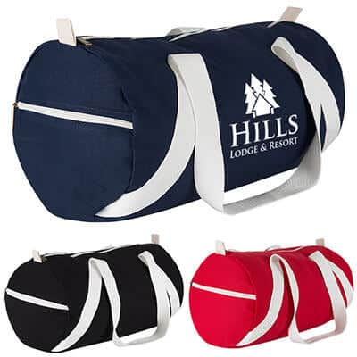 Cottom canvas navy duffel with personalized imprinting.