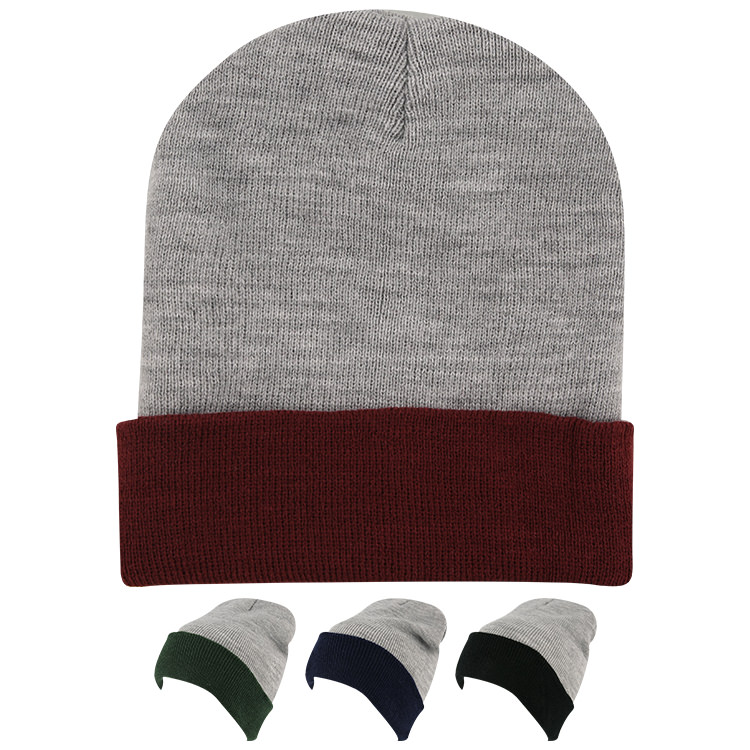 Blank gray with maroon beanie.