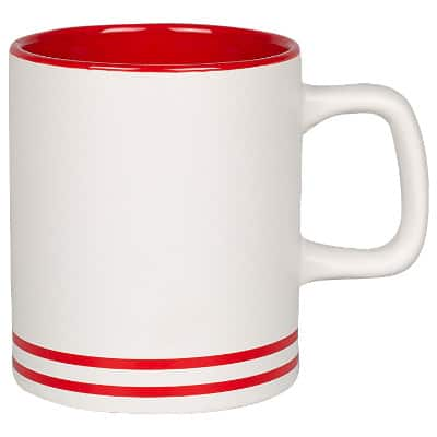 Ceramic red coffee mug with c-handle blank in 10 ounces.