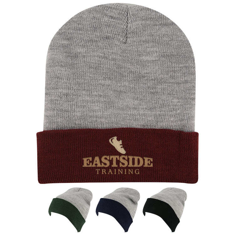 Customized gray with maroon beanie.