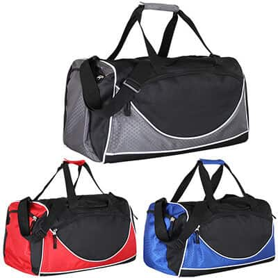 Polyester and ripstop black and gray worker duffel blank.