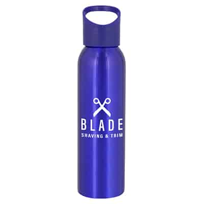Aluminum blue water bottle with custom logo and screw on lid in 20 ounces.
