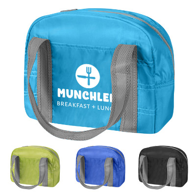Aqua polyester lunch bag with logo.
