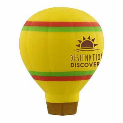 Foam hot air balloon stress ball logoed with brand.