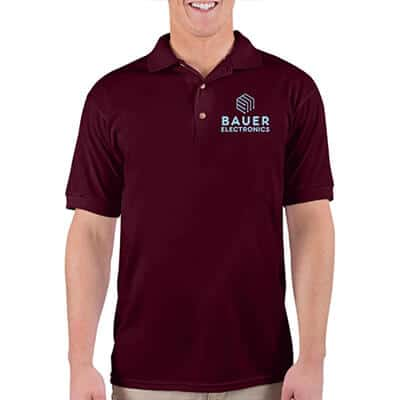 Maroon customized work polo.