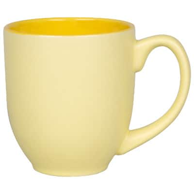 Ceramic yellow coffee mug with c-handle blank in 14 ounces.