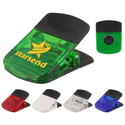 Plastic translucent green rectangle chip clip with custom branding.