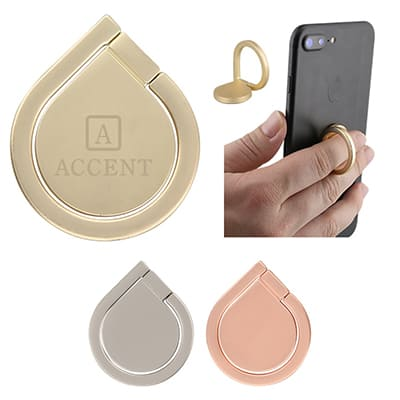 Aluminum branded gold phone ring stand.