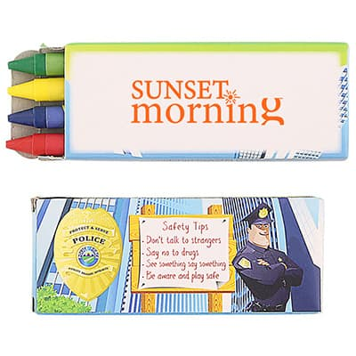 Cardboard 4 pack police crayons with imprinted logo.