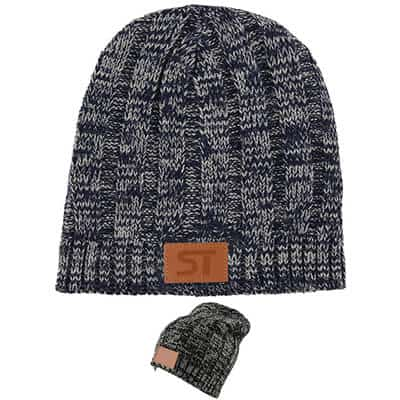 Customized debossed navy blue beanie.