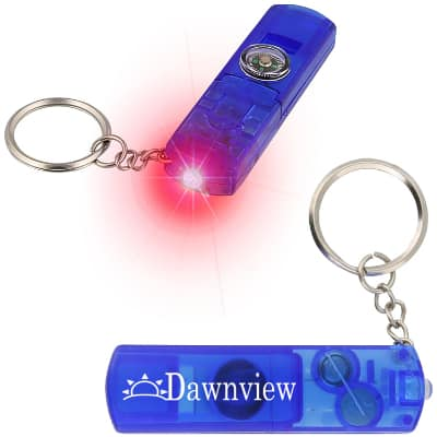 Plastic translucent blue light up whistle compass keychain logoed.