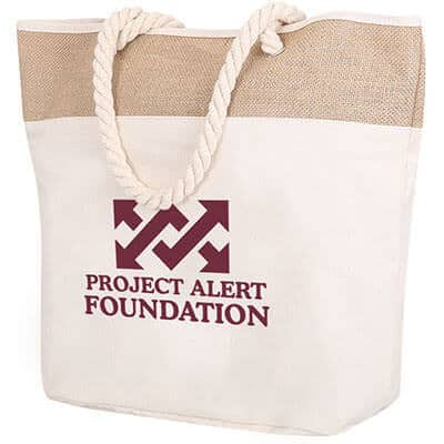 Cotton canvas natural beige rope tote with printed logo.