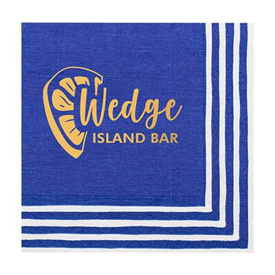2Ply tissue stripe border blue foil stamped cocktail napkins personalized.