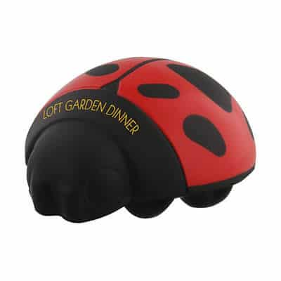 Foam ladybug stress ball personalized with imprint.