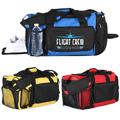 Polyester royal blue deluxe activity duffel with full color imprinting.