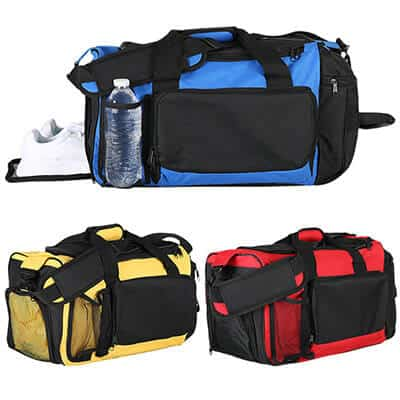 Polyester royal blue deluxe activity duffel blank.