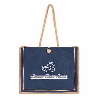 Natural jute bliss tote bag with personalized imprint.
