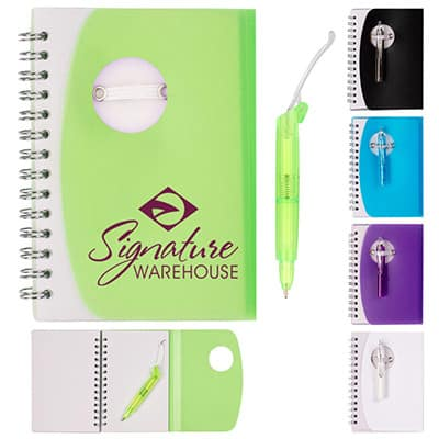 Branded translucent green fold over cover notebook with folding pen.