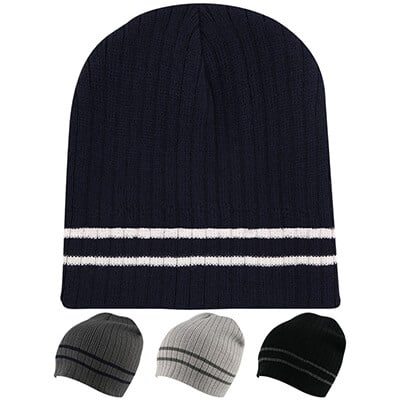 Blank navy blue with white beanie.