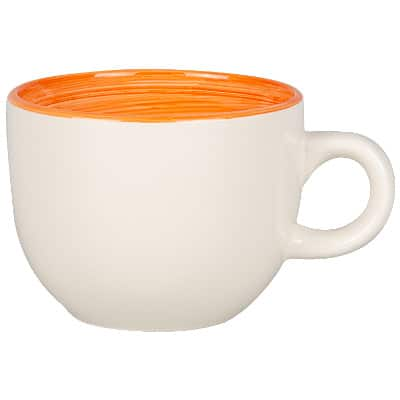 Ceramic white with orange coffee mug with c-handle blank in 14 ounces.