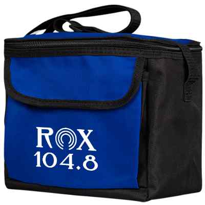 Polycanvas royal blue 6 can insulated bag with branded logo.