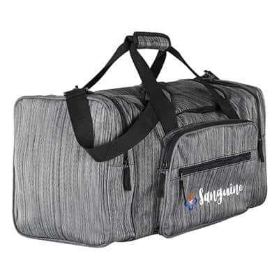 Polyester gray ash duffel bag with logoed full color imprinting.