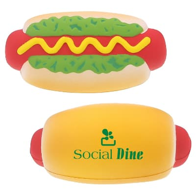 Foam hot dog stress relievers printed with logo.