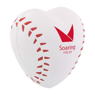 Foam baseball heart stress ball customized with imprint.