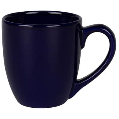 Ceramic cobalt blue coffee mug with c-handle blank in 15 ounces.