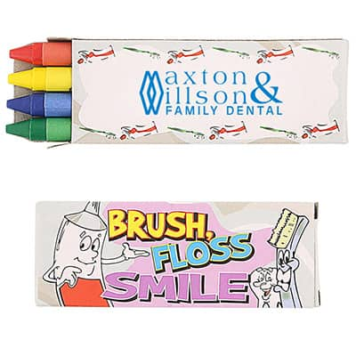 Cardboard 4 pack dentist crayons with imprinting.