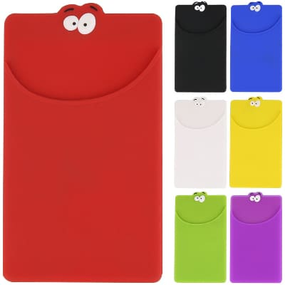 Silicone red goofy phone wallet blank.