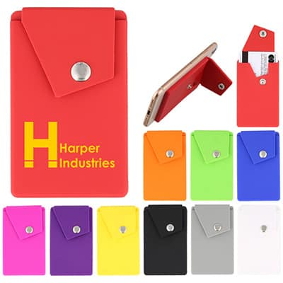 Silicone red phone wallet with a customizable logo.