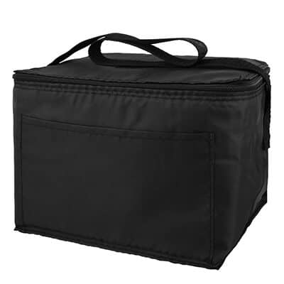 Polyester black 6 pack budget lunch cooler blank.