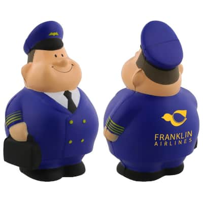 Foam pilot pete stress ball with promo.
