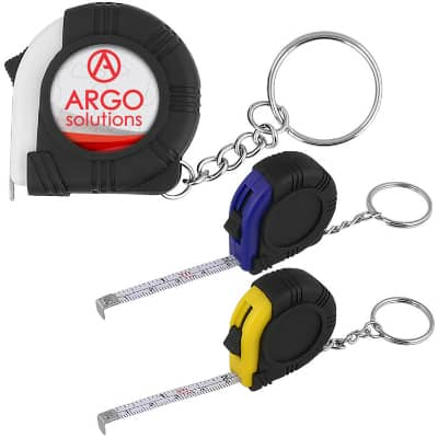 Plastic white key ring tape measure in full color imprinting.