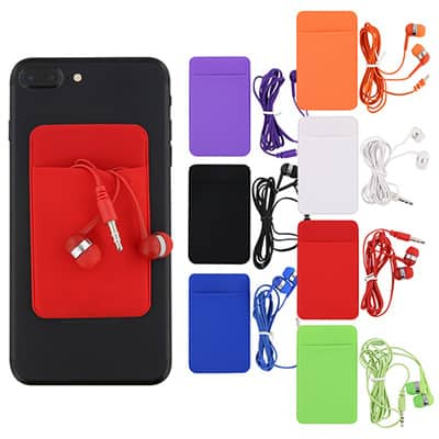 Spandex and plastic red phone wallet and earbuds blank.