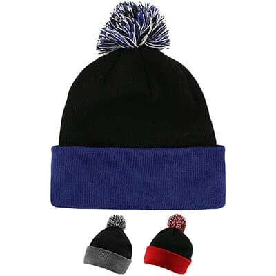 Blank black with royal blue beanie with pom.