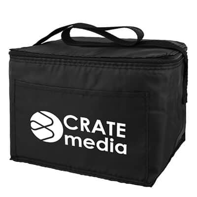 Polyester black 6 pack budget lunch cooler with branded logo.