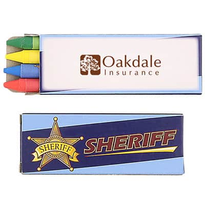 Cardboard 4 pack sheriff crayons with branded logo.