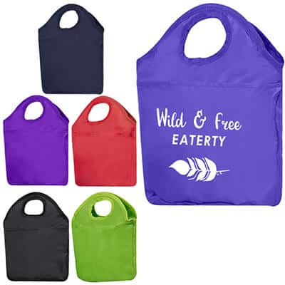 Polyester royal blue boho lunch cooler bag with branded logo.