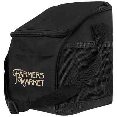 Polyester black mesh pocket lunch cooler with printed logo.