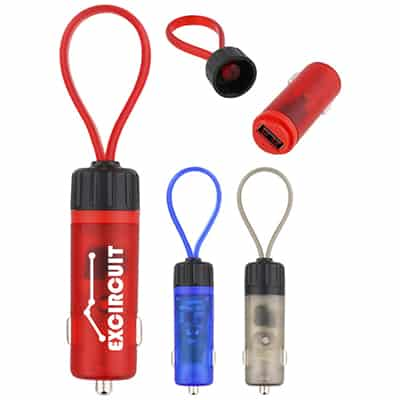 Plastic customized red keyring car charging plug.