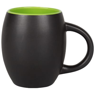 Ceramic black with lime green coffee mug with c-handle blank in 17 ounces.