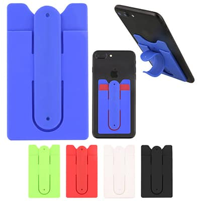 Blank silicone blue phone wallet with kickstand.
