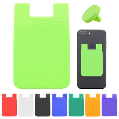 Silicone and plastic lime green phone wallet and car vent mount blank.