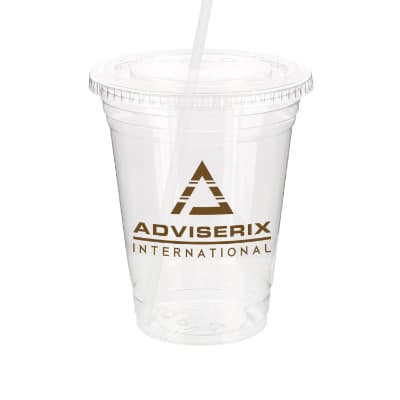 PET plastic clear soft sided cup with lid and straw and custom branding in 16 ounces.
