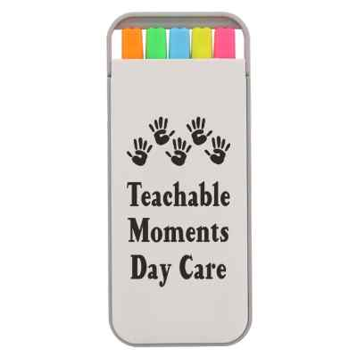 Plastic 5 piece highlighter set with promotional logo.