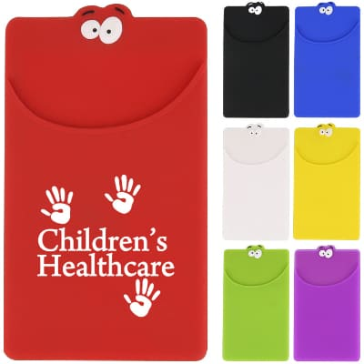 Silicone red goofy phone wallet with customized logo.